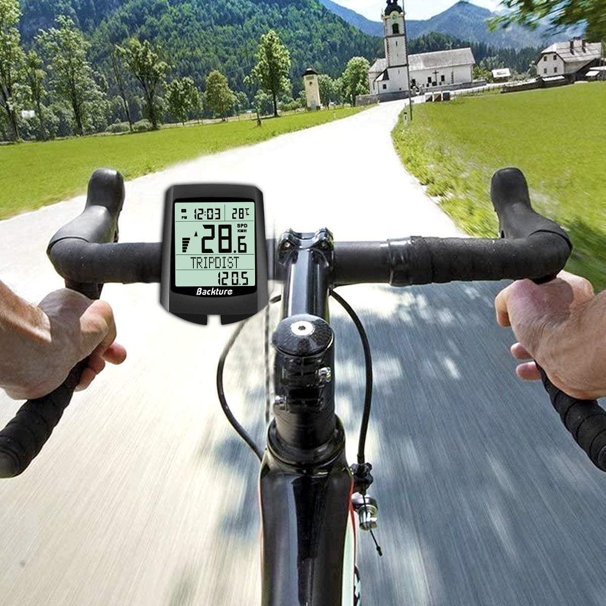 Qomolo Ordinateur de vélo solaire LCD Ordinateur de vélo sans fil Bicycle 19 fonctions
