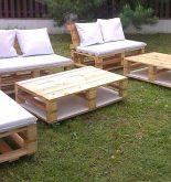 salon de jardin en palettes de bois